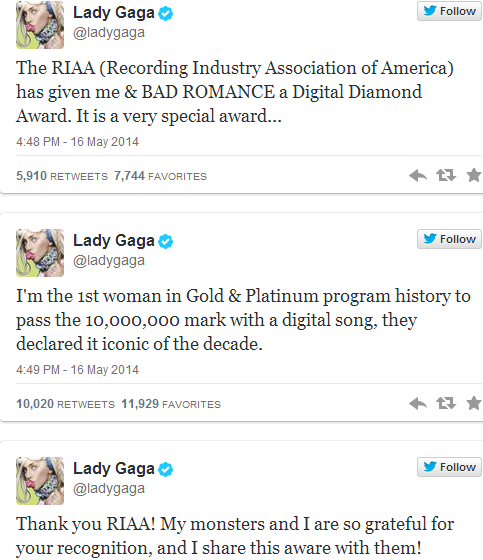 Lady Gaga's 'Bad Romance' Receives RIAA Digital Diamond Award